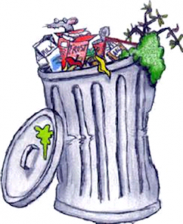 drawing of an overflowing trashcan